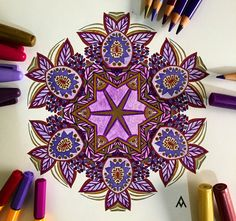 ✝🕉✡🛐☦☪  Mandala, Mandalas, Pintando Mandalas, Painting Mandalas, Color, Colores, Colors, Morado, Purple, Dorado, Gold, Mandalas para el alma, Mandalas para el alma 2