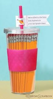 first day of school teacher gift! never have too many pencils and a tumbler! #DIY kids-stuff