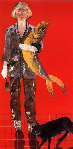 'Self Portrait with Fish and Cat' (1970) by American painter Joan Brown (1938-1990). via wishflowers