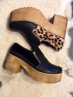 suecos zapatos taco de madera cuero piel, plataforma MODA