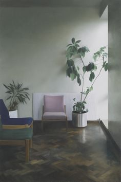 Interior with Two Plants, 2010, Oil on linen, 114X76cm by Paul Winstanley