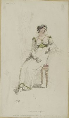 All sizes | M5053MA_214X02X00070_L_2, via Flickr. 1813, Ackerman's Repository of Arts. Evening dress. - It's like a regency version of a swiss waist!