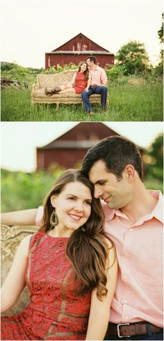 Farm engagement photos in Knoxville Tennessee - love the red barn and the couch! Click to view more!