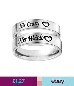 Rings Couple Rings His Crazy Her Weirdo Titanium Band Couple Promise Wedding Jewelry Promise Rings For Couples, Couple Rings, Wedding Jewelry, Wedding Rings, Couple Jewelry, Cute Relationships, Relationship Goals, Stainless Steel Rings, Girly Things