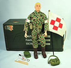 """GI Joe - the original 12"""" doll - with a footlocker to hold all his equipment - my son had it all..."""