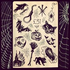 Halloween themed flash board ~ esp love the coffin, cat and crow.
