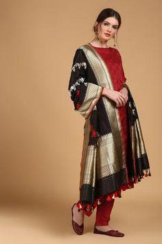 e7edf2c48ca Red Tanchoi Suit Set with Black Pure Katan Silk Dupatta - Tilfi Pakistani  Party Wear