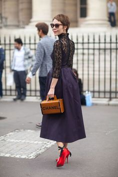 old-school Chanel leather box bag: Haute Couture Street Style: Fall