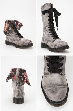 Dr. Martens Triumph 1914 Floral Boot (Black) - Leather $160.00 #urbanoutfitters