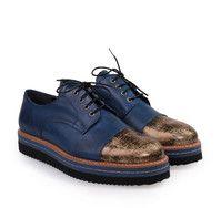 Oxford Blue/Gold shoes SAGIAKOS. Μπλε/χρυσά παπούτσια oxford με κορδόνια.