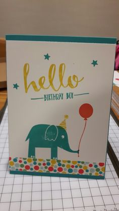 Birthday card for a little boy, Stampin Up animal stamp, Hello stamp set, Confetti Celebration stamp set, Cherry on Top washi tape