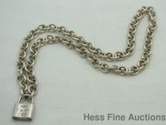 """Tiffany Company Genuine Chain and Padlock 17 """" Sterling Silver 1837 T and Co."""
