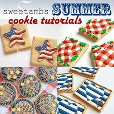 Here's a lineup of summer cookie tutorials!Sandy beach cookies - Grill cookies - Picnic cookies - Patriotic star