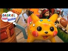 Fun PLACE to PLAY For Kids Riding PIKACHU Kid Play Carousel - YouTube