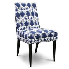 Jonathan Adler Claude Dining Chair :: blue and white upholstered Century Modern Furniture, Furniture Decor, Blue And White, Chair, Modern Furniture, Furniture, Dining Chairs, Home Decor, Upholstered Chairs