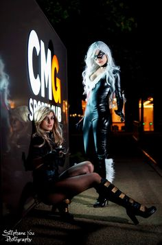 #Cosplay - Black Cat & Black Canary by Nuna Cosplay & Sulian Miles (aka Teo), photography by Stephane