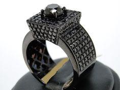 3.00 CARAT MENS 14k BLACK GOLD FINISH DIAMOND ENGAGEMENT WEDDING PINKY RING