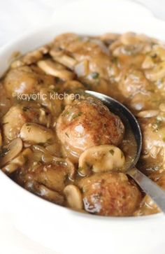 Meatballs in Mushroom Sauce...I used pre-made meatballs and still turned out…
