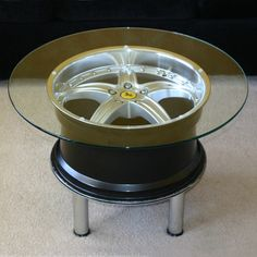 Coffee table made from a Ferrari wheel