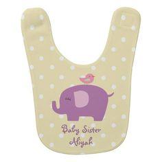 Personalized Elephant Bird Baby Bib