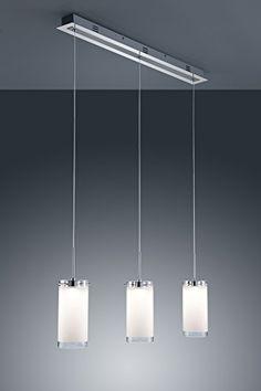 Trio Leuchten LED Pendelleuchte Chrom Glas Wei Satiniert
