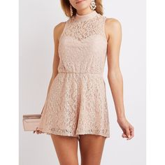 Charlotte Russe Lace Mock Neck Romper ($25) ❤ liked on Polyvore featuring jumpsuits, rompers, blush combo, cut out romper, charlotte russe, playsuit romper, sleeveless rompers and sheer romper