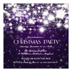 Beautiful Christmas Shining Stars Party Purple Personalized Invitation
