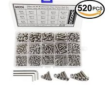 wrench 520PCS//Set Hex Socket Head Cap Screws Nut Hardware Stainless Steel+Box