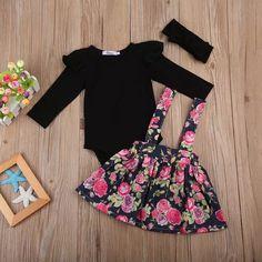 Otoño bebé chica ropa de niños bebé de la boda de las niñas de fiesta concurso princesa Floral vestido falda Tutu + negro mameluco chica ropa