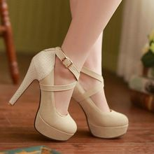 Plataforma de moda bombas sexy de salto alto sapatos de saltos finos dedo do pé redondo sapatos de plataforma sapatos de casamento das mulheres de tamanho 34 - 43(China (Mainland))