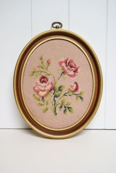 Vintage Needlepoint Shabby Chic Roses in Oval by SpeckledDog