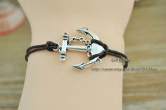 Anchor Bracelet  Dark brown leather bracelet  Silver personalized handmade jewelry  Leather bangle L90 on Etsy, $1.13 AUD