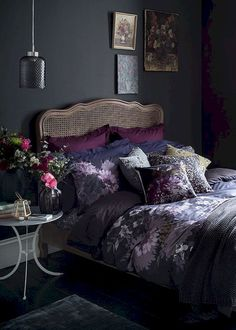 This moody floral bedroom idea is a lesson in dark romance. Bring autumn's ric… This moody floral bedroom idea is a lesson in dark romance. Bring autumn's rich colours inside with painterly prints, jewel tones and luxe metallic accents. Beautiful Bedrooms, Bedroom Makeover, Home Bedroom, Dark Bedroom, Bedroom Design, Home Decor, Bedroom Inspirations, Apartment Decor, Floral Bedroom