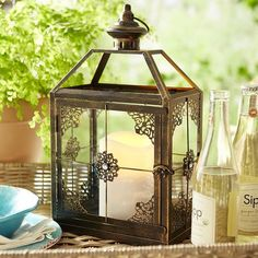 Jewel Square Lantern - Black Narrow