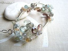 XANADU ice flower gemstone aquamarine silver wire wrap necklace $98 #etsyfollow #brigteam #jewelry @Shadow