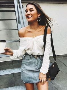 Jean skirt and off the shoulder top