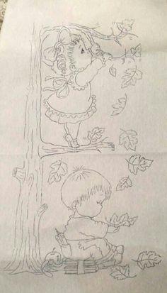 Niño y niña en arbol Pencil Sketch Drawing, Pencil Art Drawings, Cute Drawings, Baby Coloring Pages, Disney Coloring Pages, Tole Painting, Fabric Painting, Children Sketch, Baby Drawing