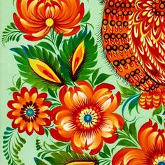 """Petrykivsky painting or """"petrykivka"""" is traditional Ukrainian decorative painting, which originates from Dnipropetrovsk oblast of Ukraine, Petrykivka village."""