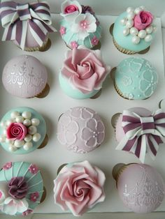 Idea:  These cupcakes might work for a girl's birthday party or tea party! BTW-the pearls are edible!