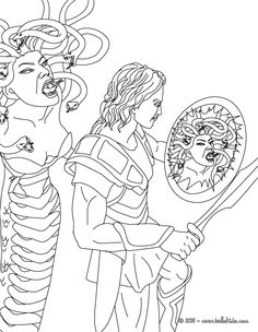 Pin On Coloring - Fantasy images ideas from NEO Coloring Pages Greek Mythology Gods, Roman Mythology, Greek Gods, Colouring Pages, Adult Coloring Pages, Coloring Books, Perseus Und Medusa, Greek Mythological Creatures, Greek Titans
