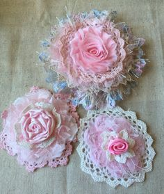 Your place to buy and sell all things handmade Shabby Chic Fabric Flower/Cottage Chic / Pink Fabric Flowers/ Vintage Flower/ Bridal Hairpiece/ Girls Headband flower/Baby Headband flowers by ShabbyChicLoft on Etsy Shabby Chic Headbands, Shabby Chic Flowers, Rustic Wedding Flowers, Lace Flowers, Vintage Flowers, Fabric Flowers, Headband Flowers, Ribbon Flower, Handmade Headbands