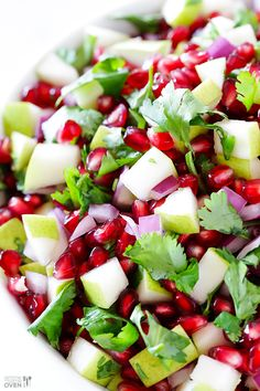 5-Ingredient Pear Pomegranate Salsa -- made with five fresh and tasty ingredients! from Gimmesomeoven.com