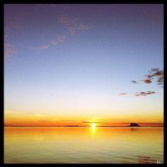 The sun past midnight. The #Lovund island in the horizon. #nordland #norway #æøå #webstagram