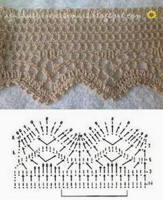 If you looking for a great border for either your crochet or knitting project, check this interesting pattern out. When you see the tutorial you will see that you will use both the knitting needle and crochet hook to work on the the wavy border. Crochet Edging Patterns, Crochet Lace Edging, Crochet Motifs, Crochet Borders, Crochet Diagram, Crochet Chart, Thread Crochet, Crochet Trim, Filet Crochet