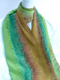 SILK SCARF Hand Painted in Teal Green and Gold by ShariArts, $42.00