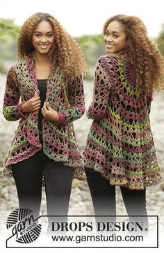 """Fall Festival - Crochet DROPS jacket worked in a circle in """"Big Delight"""". Size…"""