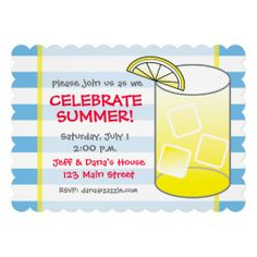 Blue and White Striped Lemonade Summer Scalloped Invitations. Perfect for a summer party, BBQ, sip 'n see or any other fun refreshing gathering. Available at www.gem-ann.com (Zazzle store).