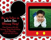 Custom Mickey Mouse Invitation OR Thank You Card Boy or girl with red polka dots- Custom with picture