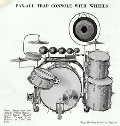 """Early Slingerland """"Pax-All"""" trap console with wheels - shown here with cymbal holder, gong ring, drum holder, traps, trap holders and tom-tom rods. Dope Music, Indie Music, Vintage Drums, Drumline, All About Music, Snare Drum, Drum Kits, Custom Guitars, Clarinet"""