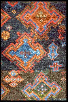 Close up of a rare antique south Tribal  Persian rug 140 x 170 Blue indigo field  henide@hotmail.com 25 rue la Boétie - 75008 Paris